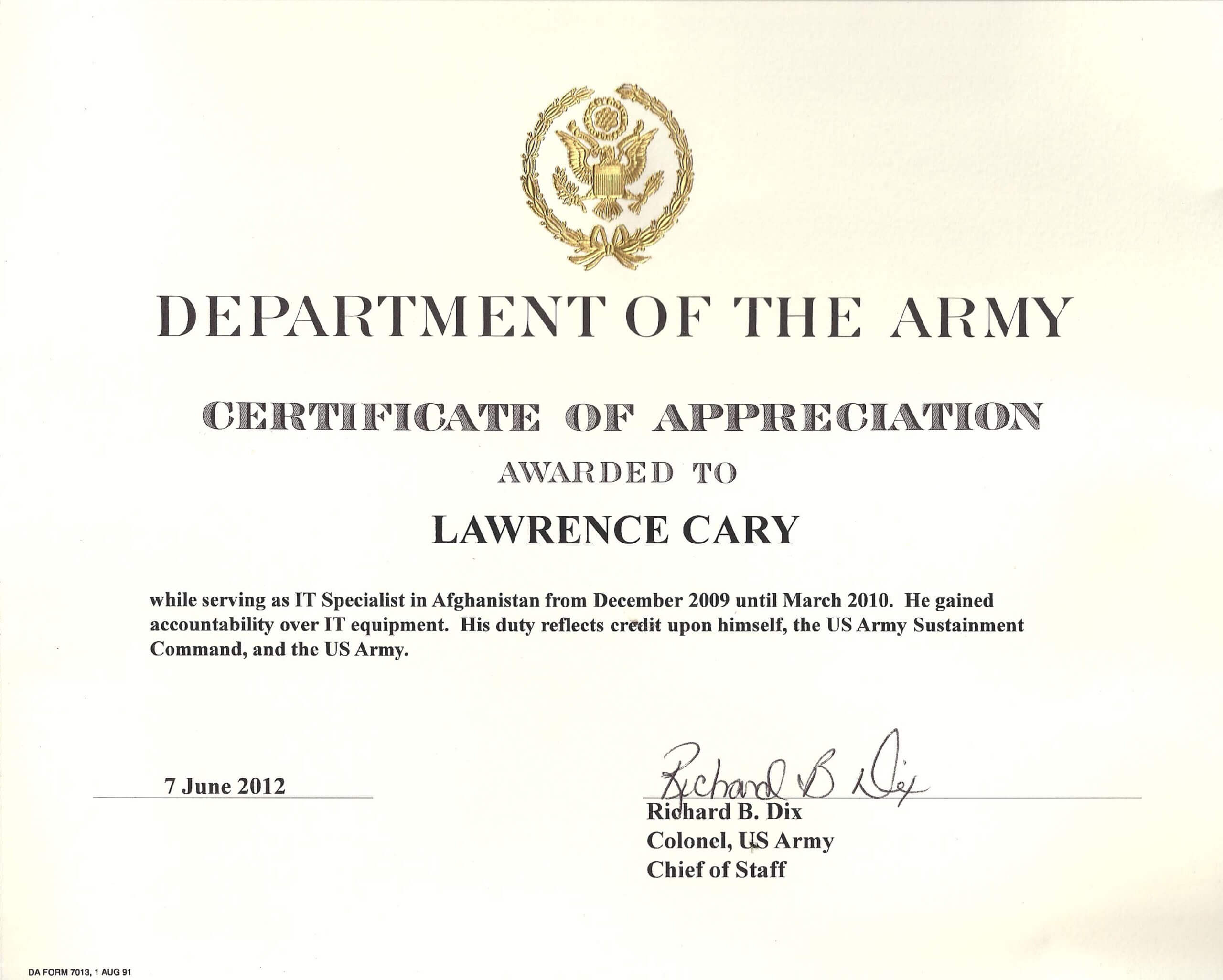 001 Army Certificate Of Appreciation Template Ideas Intended For Army Certificate Of Achievement Template
