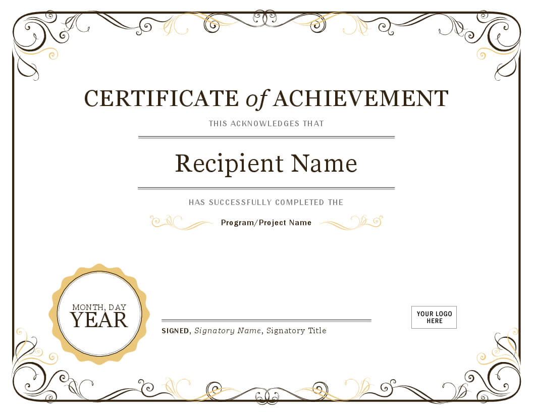 001 Template Ideas Image Certificate Of Achievement Word Pertaining To Certificate Of Achievement Template Word