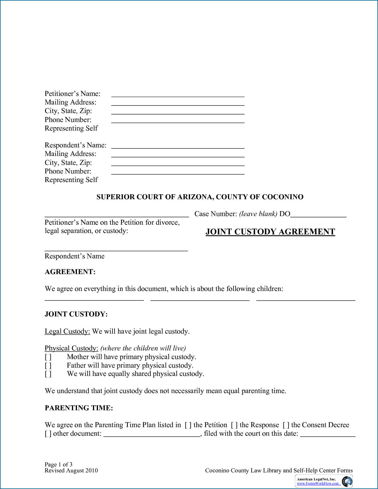 002 Child Custody Agreement Form Ontario Template Doliquid Intended For Child Custody Agreement Template