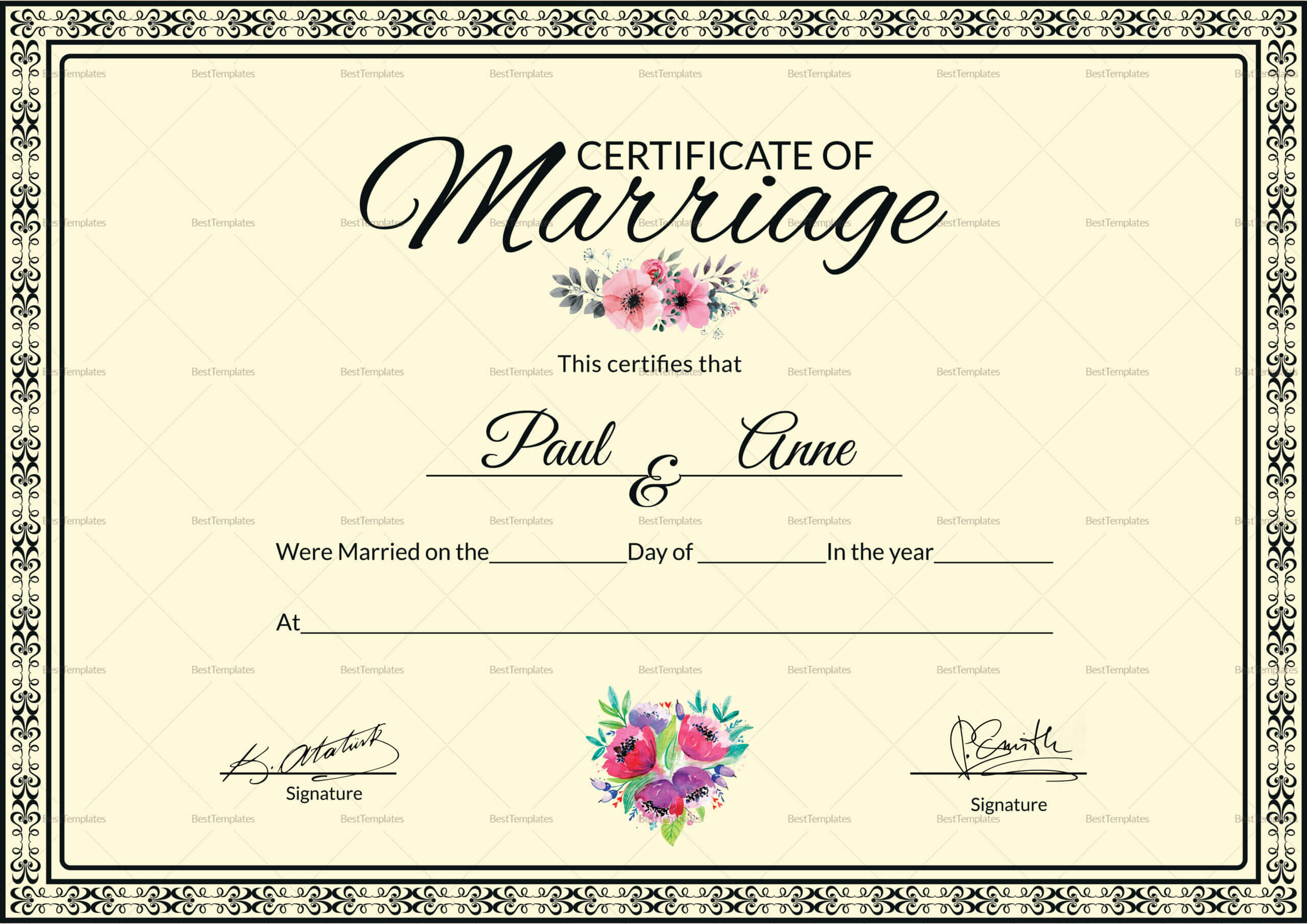 002 Template Ideas Certificate Of Marriage Beautiful Throughout Certificate Of Marriage Template