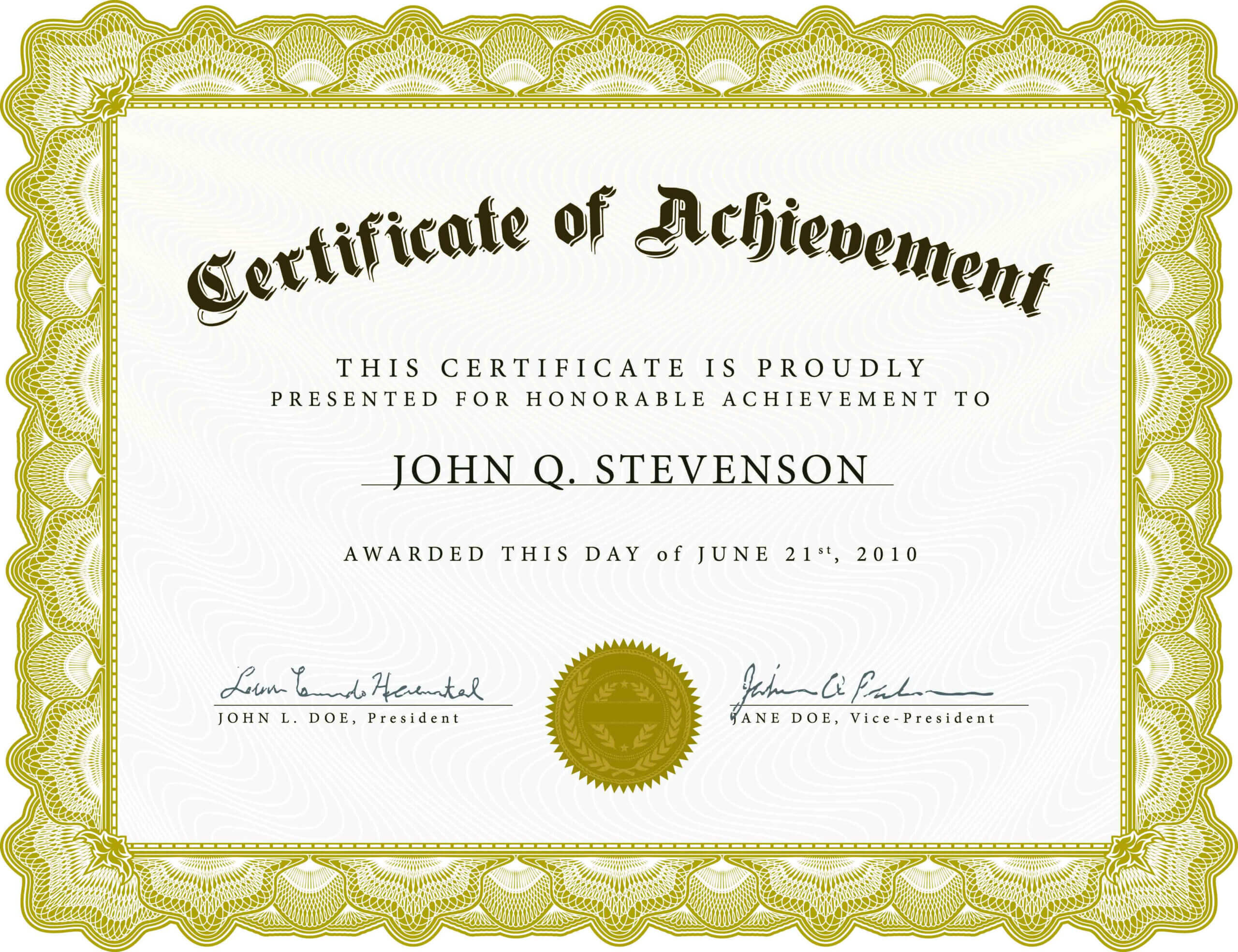 003 Army Certificate Of Achievement Template Microsoft Word With Army Certificate Of Achievement Template