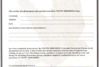004 Certificate Of Destruction Template Free Form in Certificate Of Destruction Template