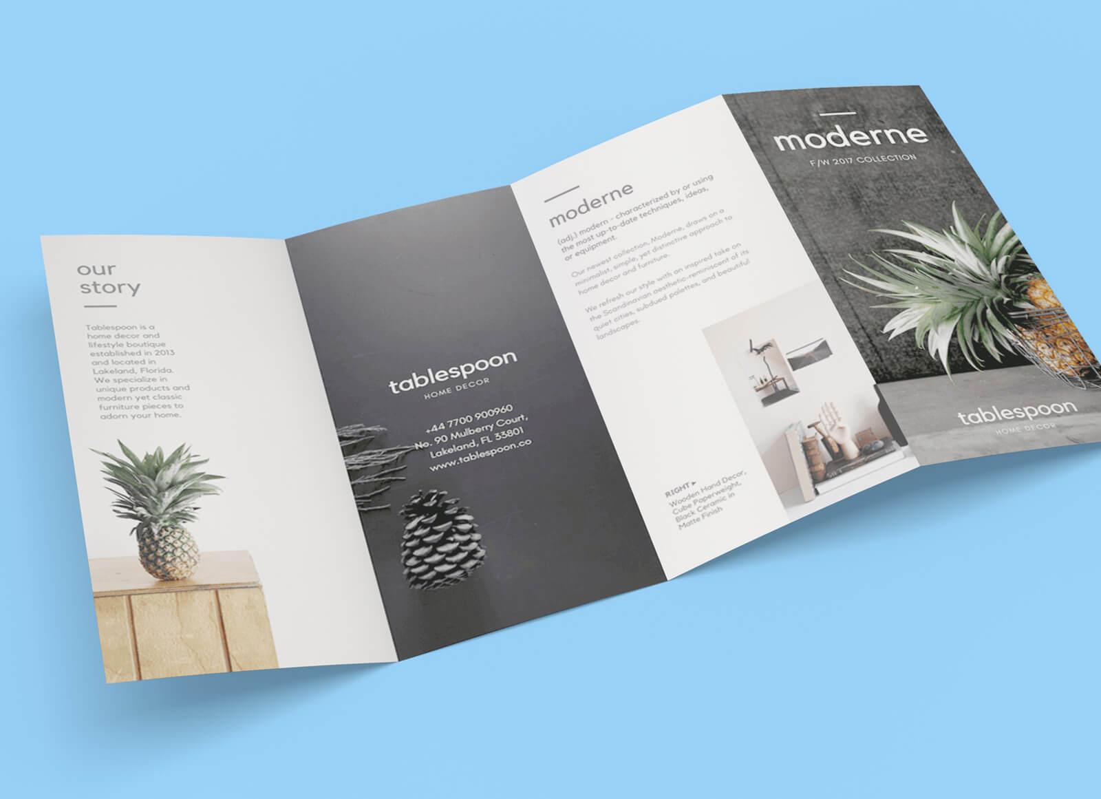 004 Free Panel Quad Fold Brochure Mockup Psd File Template With Regard To 4 Fold Brochure Template Word