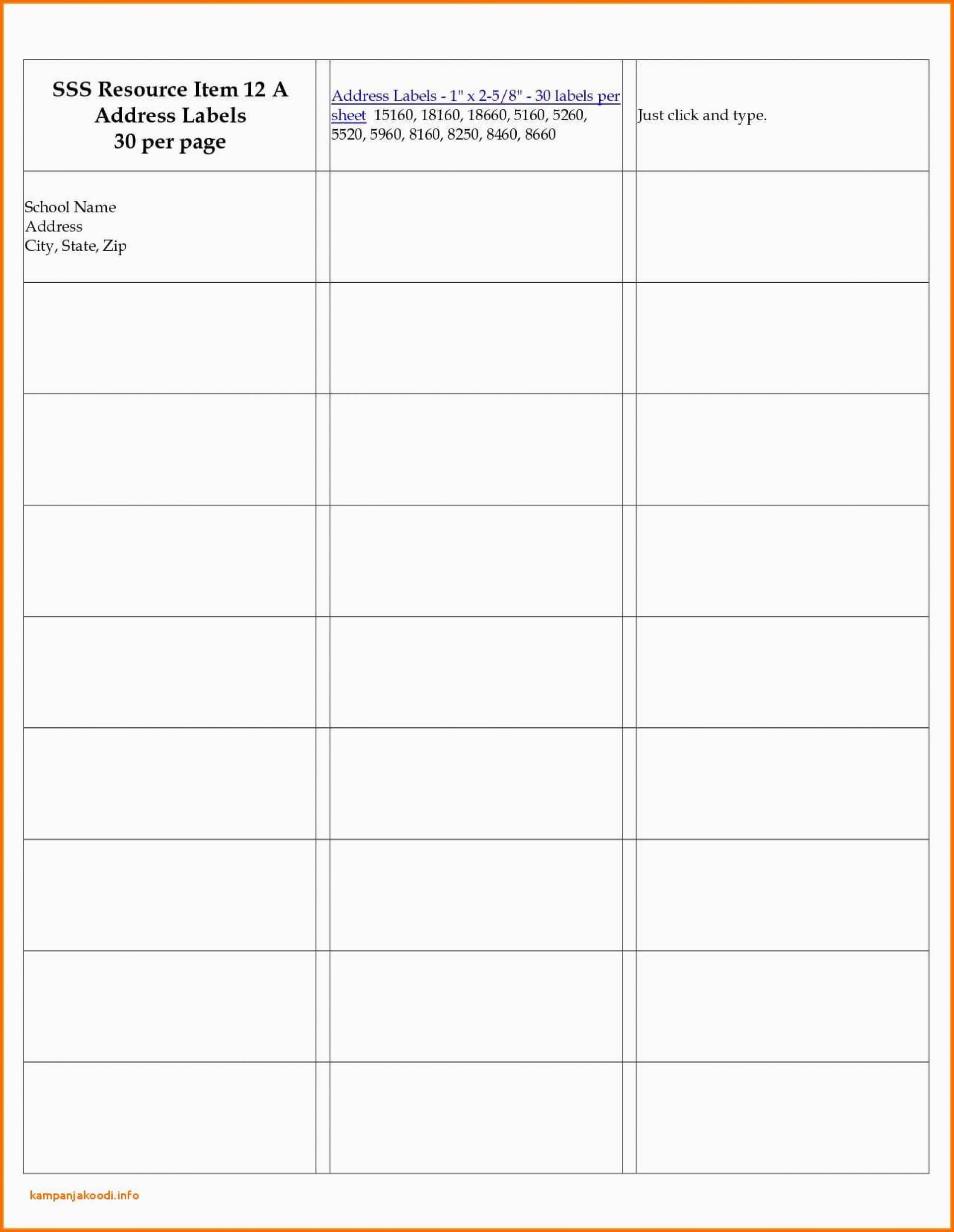 004 Label Templates For Word Per Sheet Avery Labels Template For 30 Labels Per Sheet Template