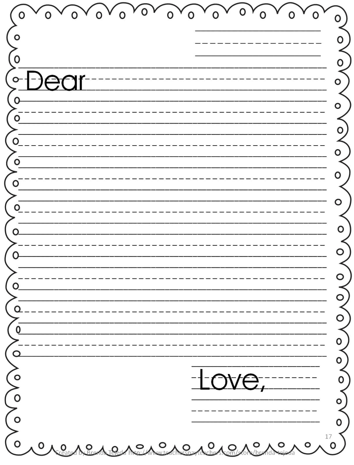 005 Friendly Letter Template Printable Kids Templates Ideas For Blank Letter Writing Template For Kids