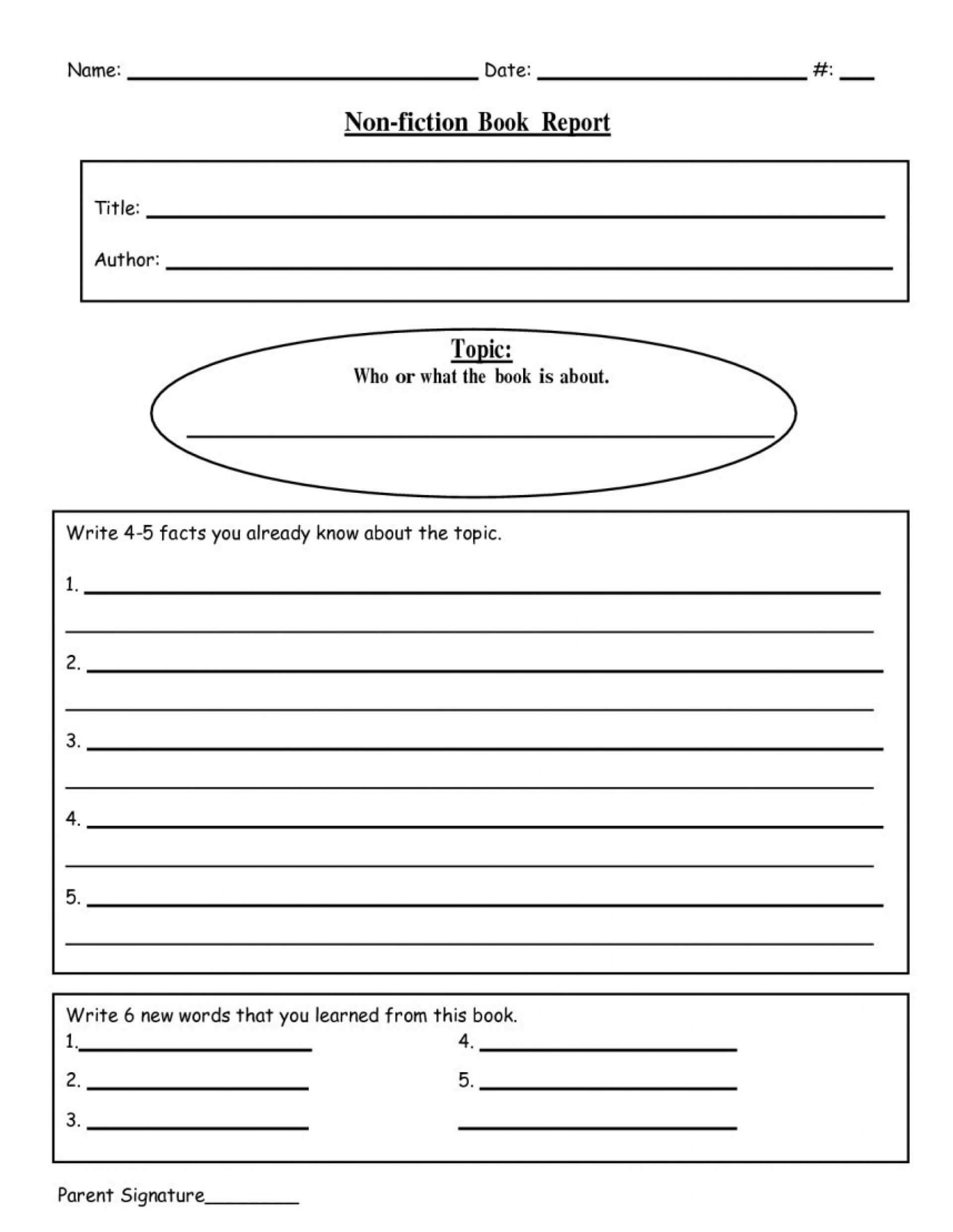 005 Writing Biography Template 4Th Grade Ideas Book Report In 4Th Grade Book Report Template