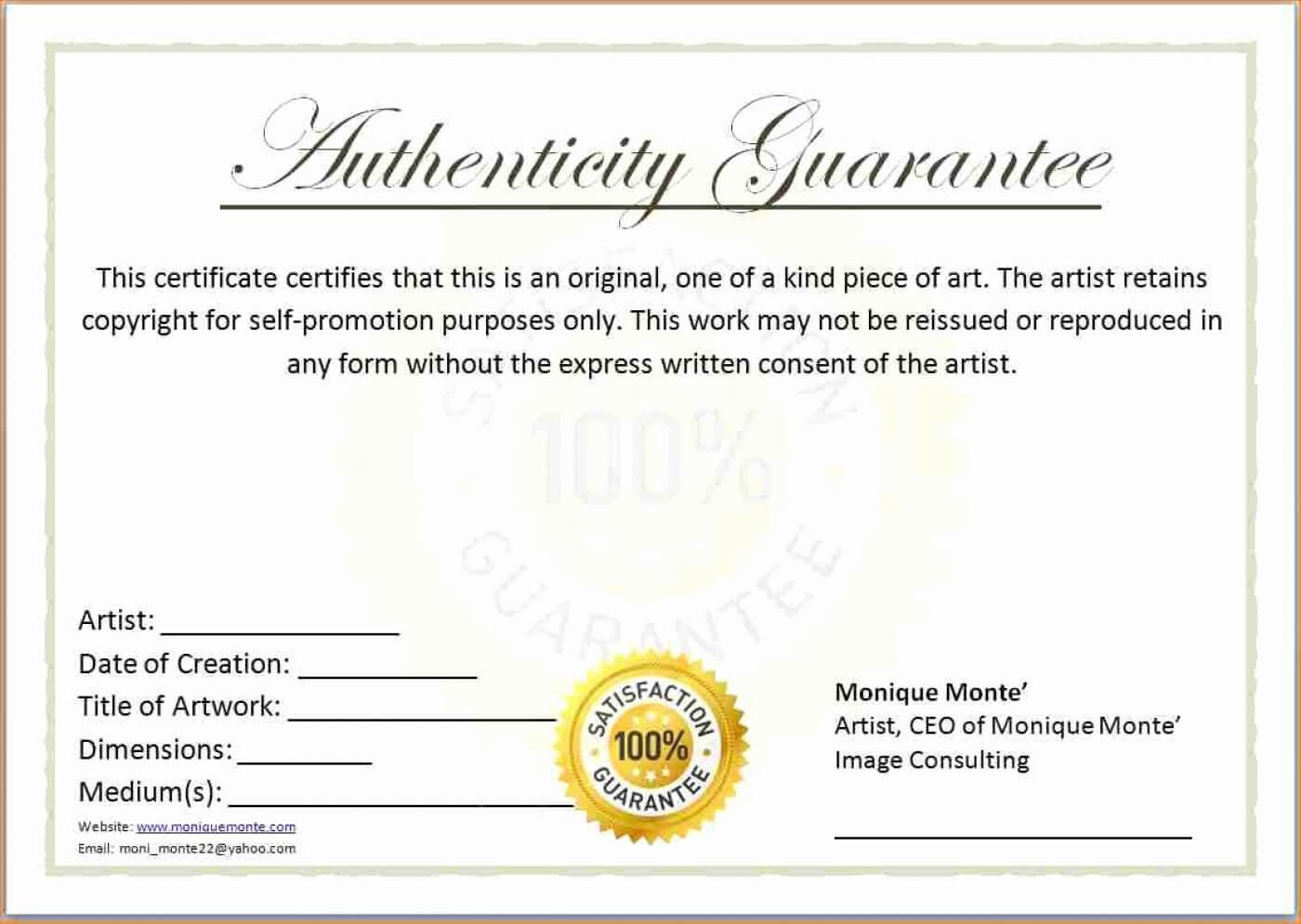 007 Certificate Of Authenticity Template Free Aplg With Certificate Of Authenticity Template