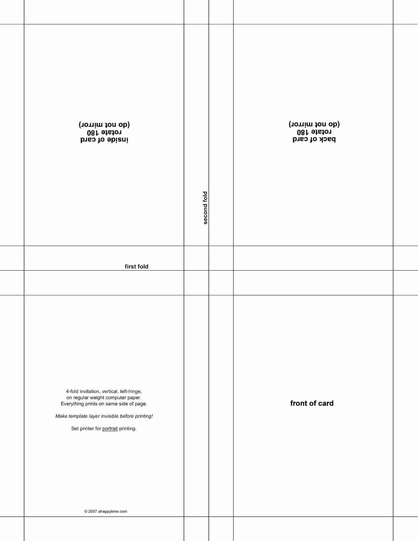 009 Quarter Fold Card Template Word Birthday Best Half Pertaining To Blank Quarter Fold Card Template