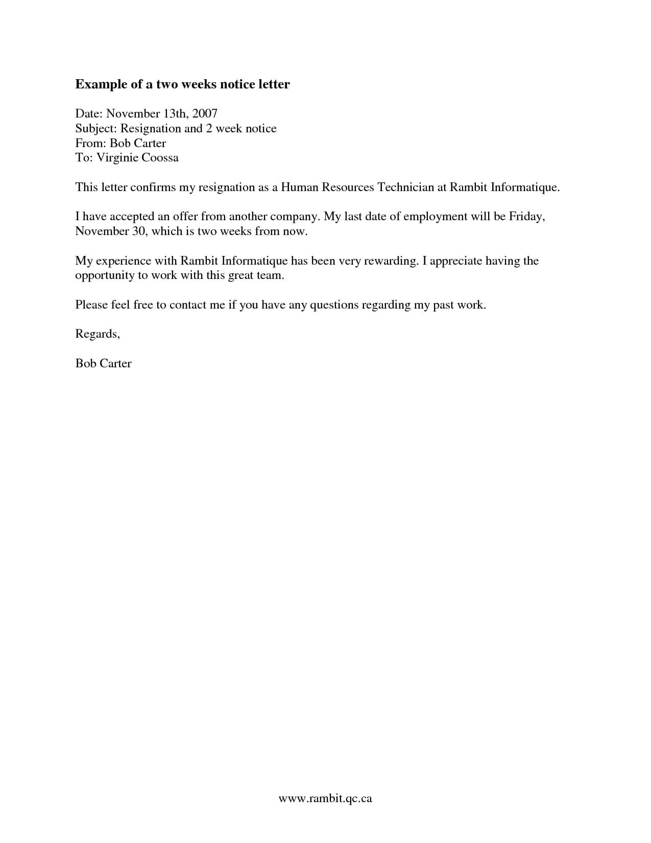 011 Twos Notice Letters Resignation Letter Templates For Pertaining To 2 Week Notice Letter Template