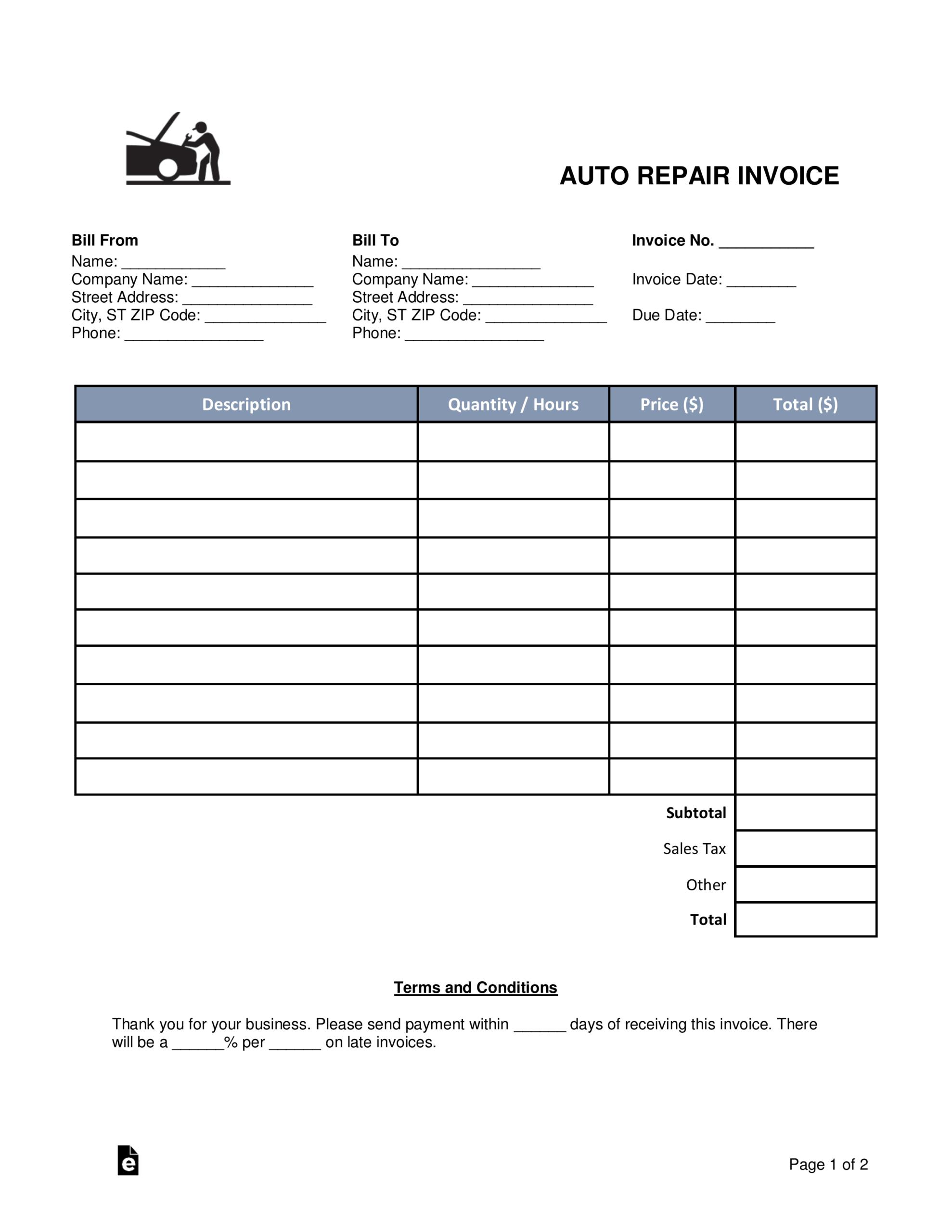 012 Template Ideas Auto Repair Invoice Word Car Remarkable Intended For Auto Repair Invoice Template Word