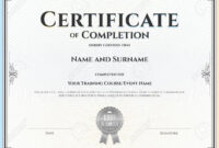 012 Template Ideas Certificate Of Completion For Achievement within Certificate Of Completion Template Word
