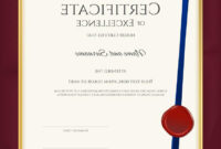 014 Top Elegant Portrait Certificate Template Excellence intended for Award Of Excellence Certificate Template