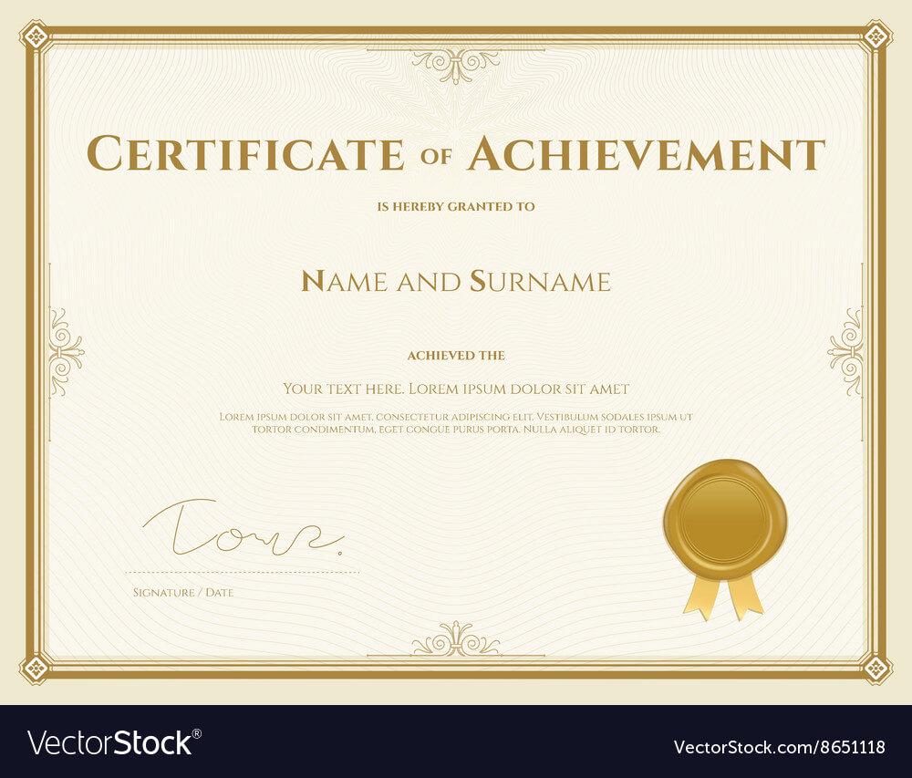 015 Template Ideas Certificate Of Achievement In Gold Theme With Certificate Of Achievement Army Template