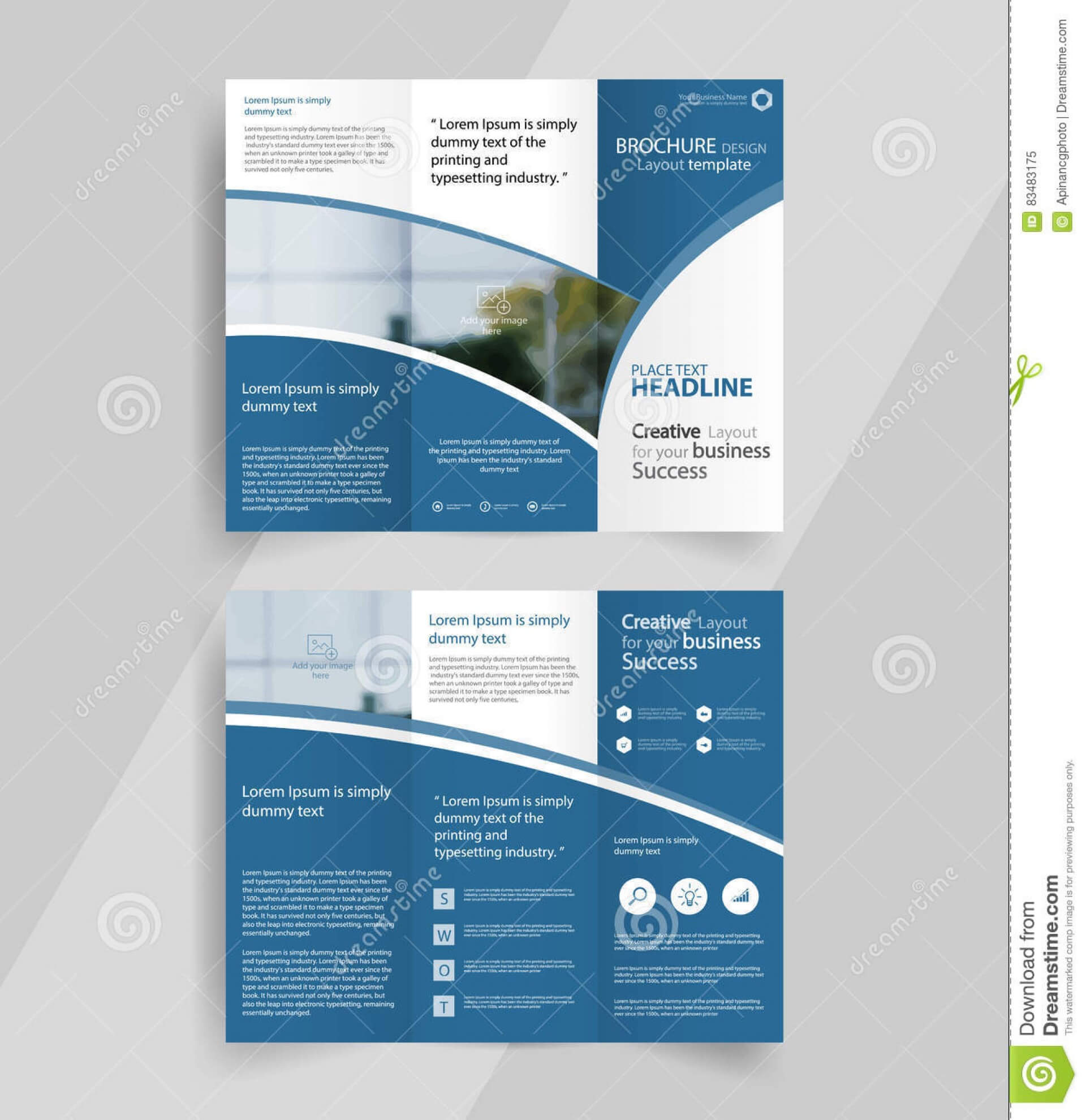 016 Tri Fold Brochure Template Download Design Blue Color Pertaining To Ai Brochure Templates Free Download