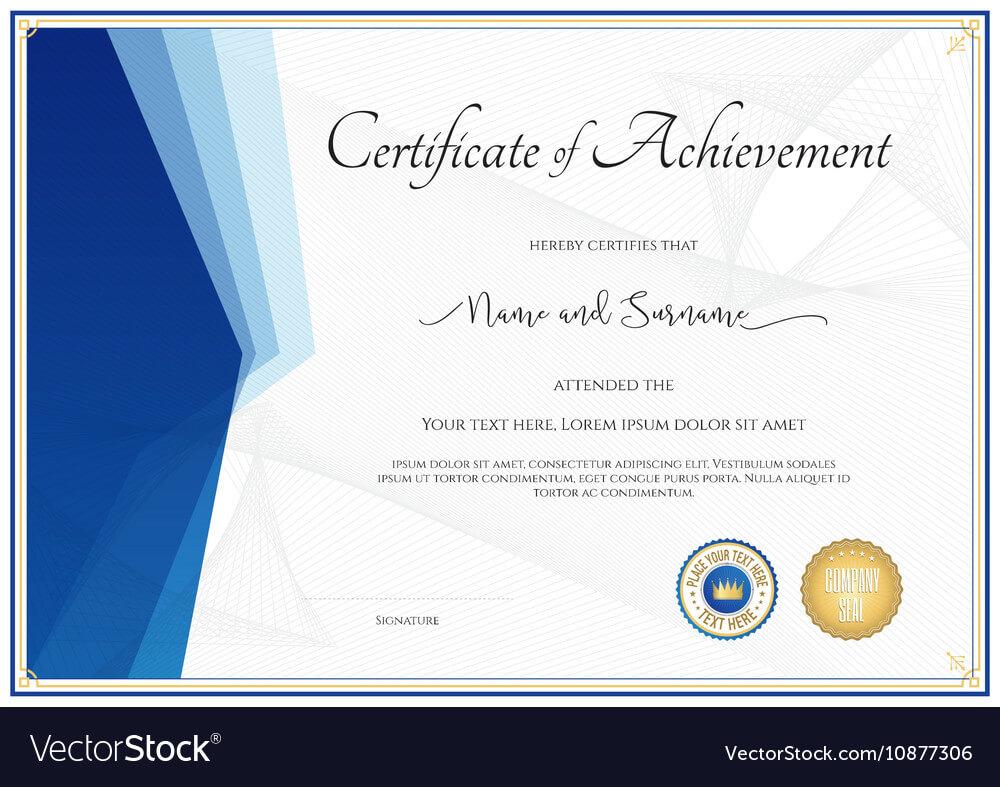018 Template Ideas Modern Certificate For Achievement Vector Regarding Certificate Of Achievement Army Template