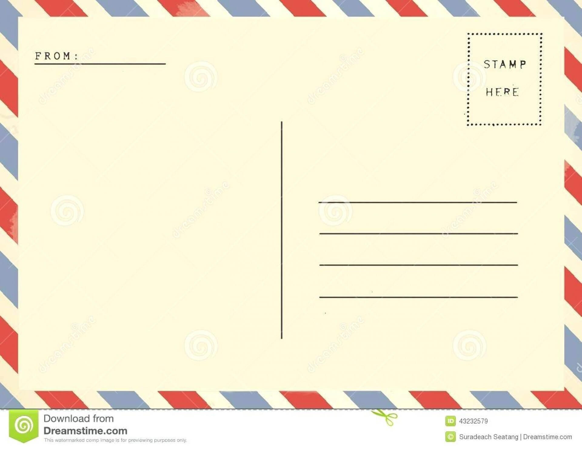 020 Postcard Template Free Download Ideas Printable Within Airmail Postcard Template