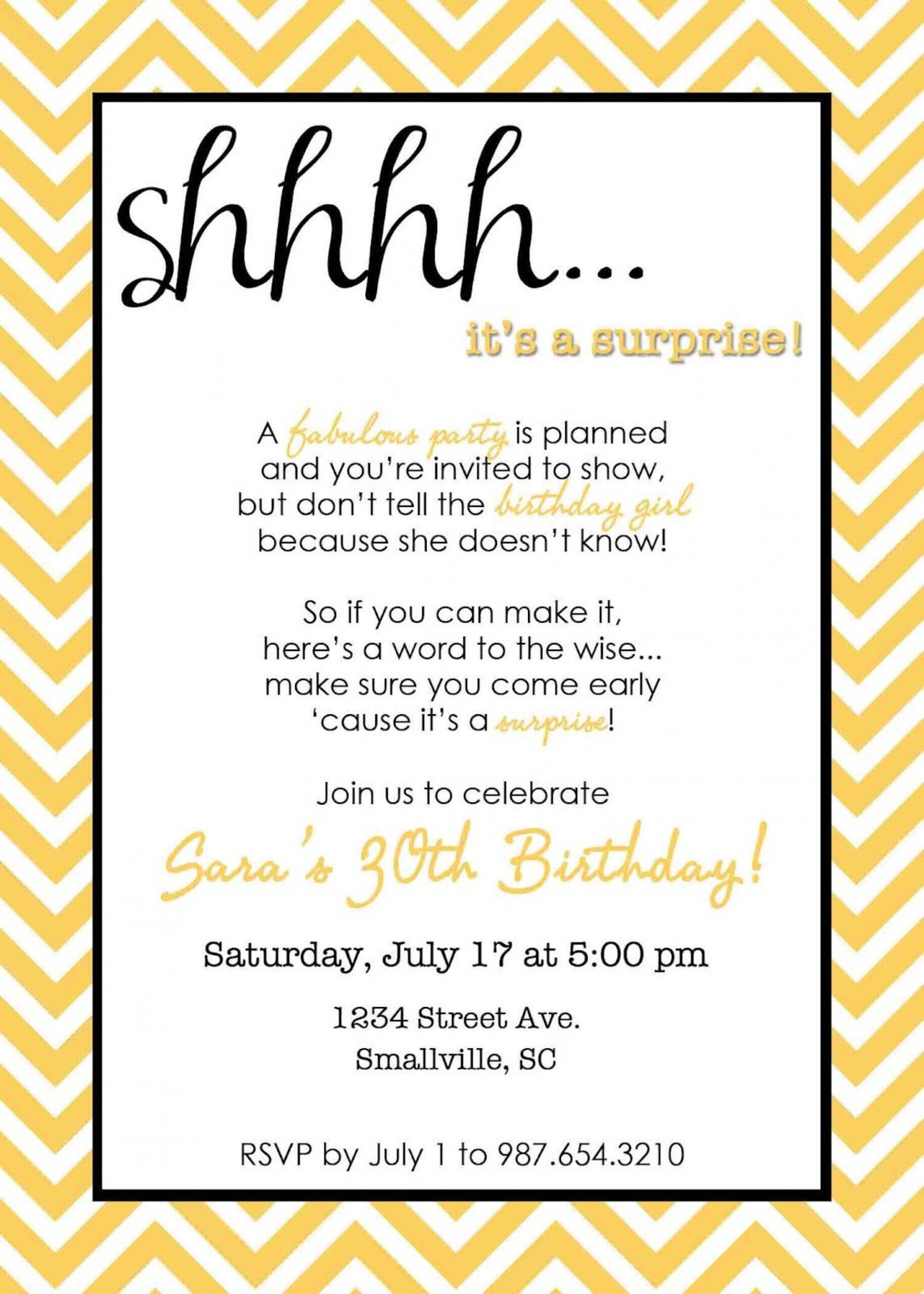 022 Party Invitations Template Word Surprise Templatesthday Pertaining To 30Th Birthday Party Invitation Template