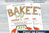 023 Bake Sale Flyer Template Editable Invitation Printable intended for Bake Sale Flyer Template Free