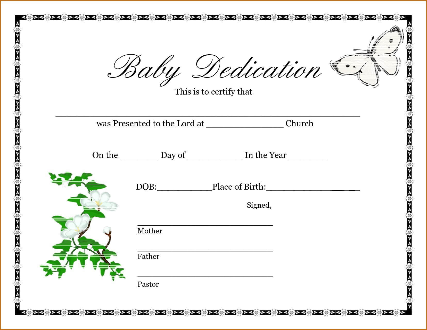 028 Baby Dedication Certificate Template Fake Birth Maker Pertaining To Birth Certificate Fake Template