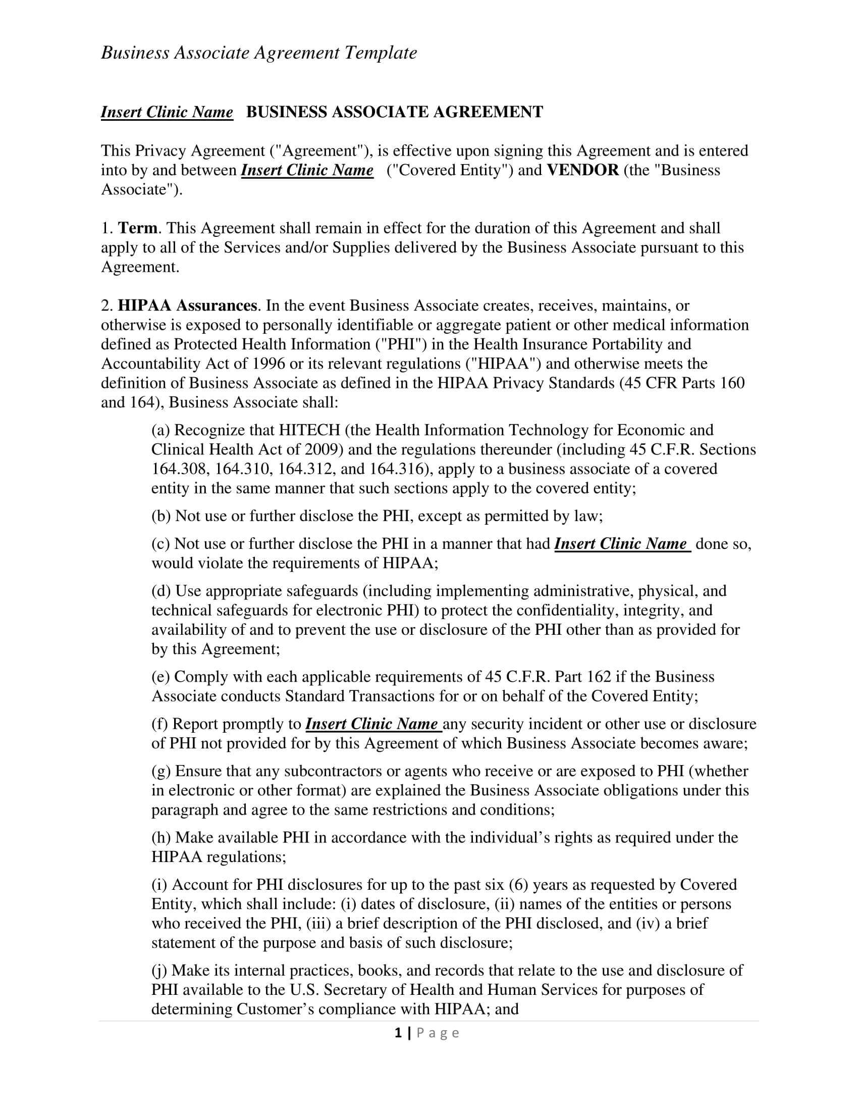 032 Legally Binding Contract Template Business Associate Throughout Business Associate Agreement Template