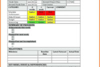 035 Project Status Report Template Excel Format Management in Baseline Report Template