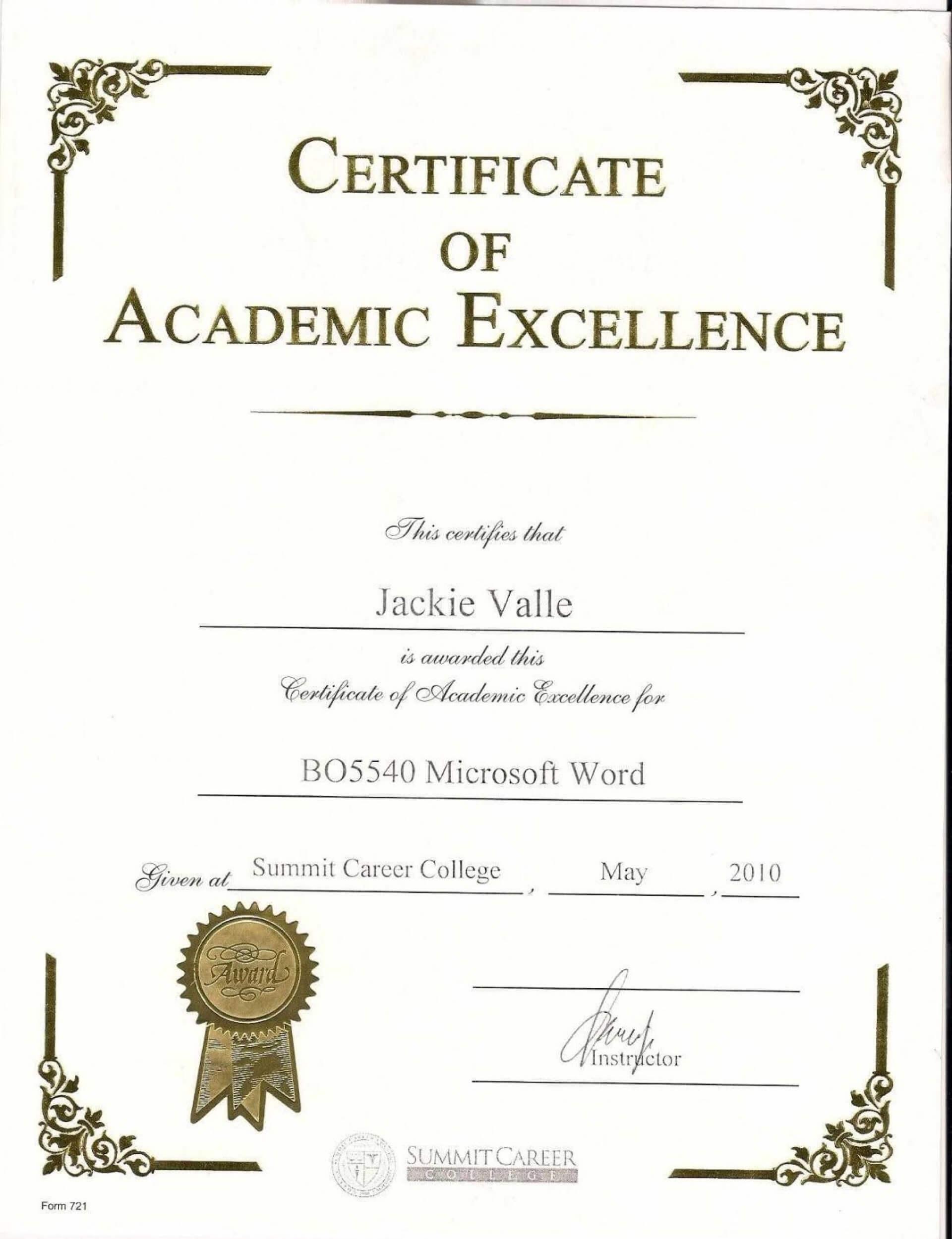 038 Award Certificate Template Word Free Printable Editable With Academic Award Certificate Template