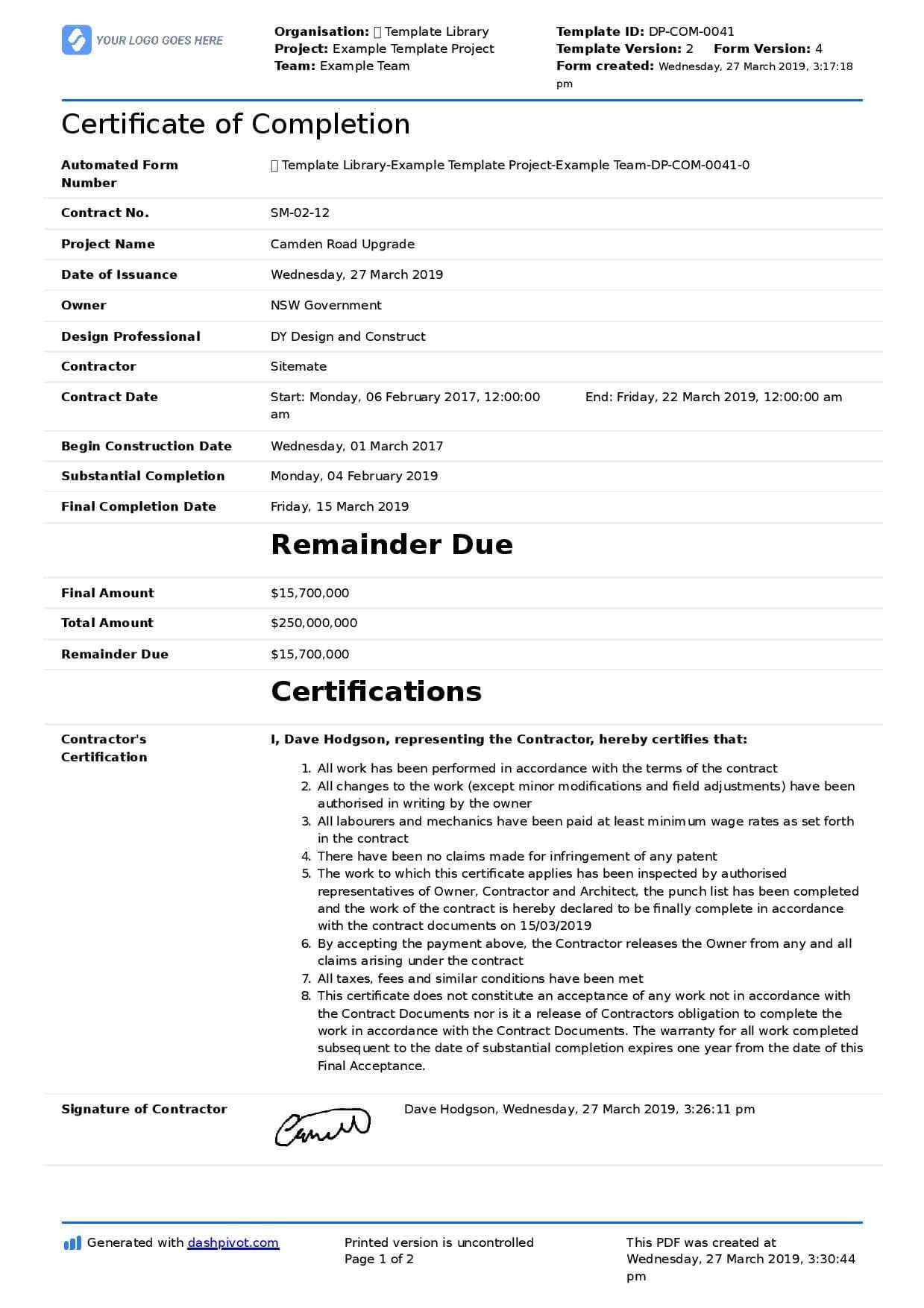 040 Free Construction Contract Agreement Template Example For Certificate Of Completion Template Construction