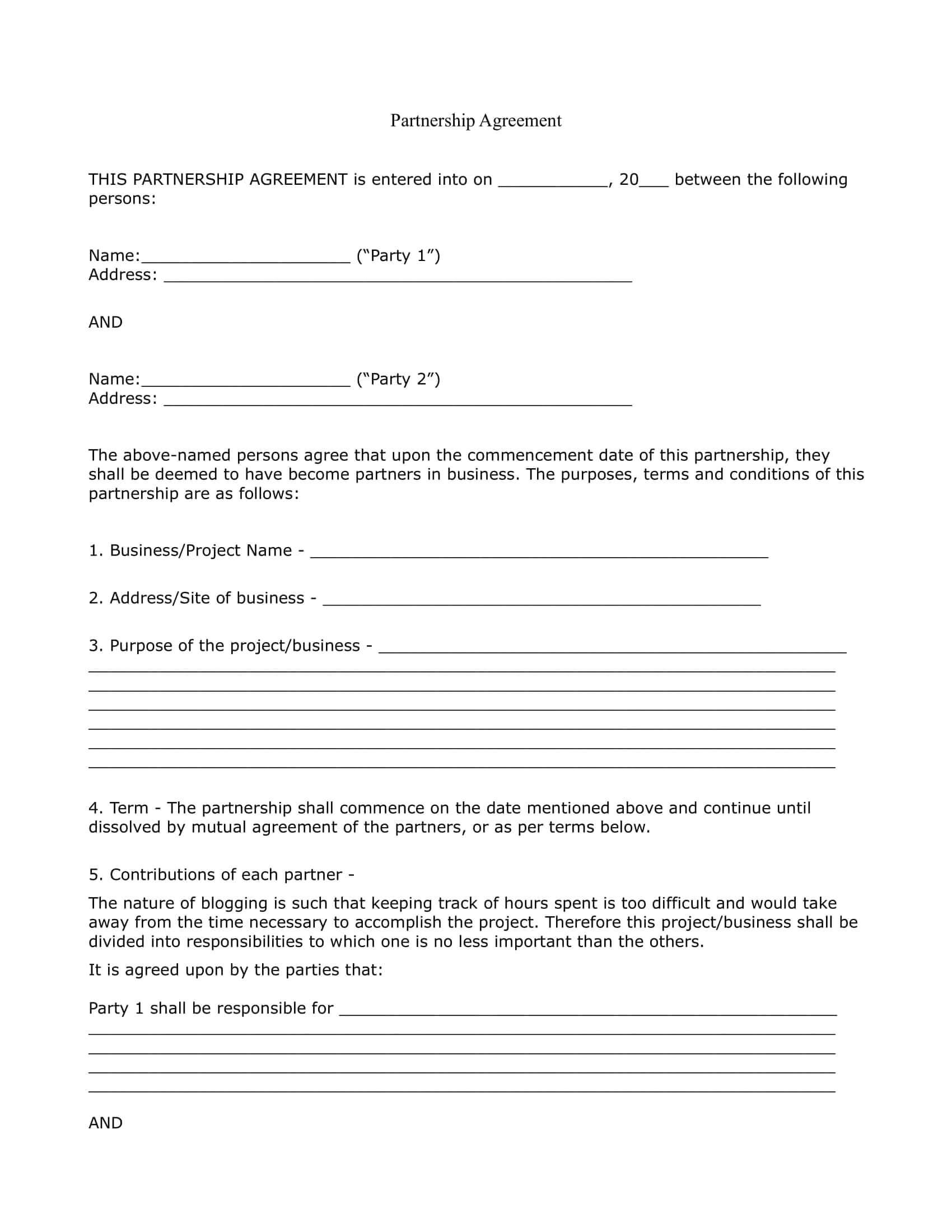 10+ 50/50 Partnership Agreement Templates Examples - Pdf For Business Partnership Agreement Template Pdf