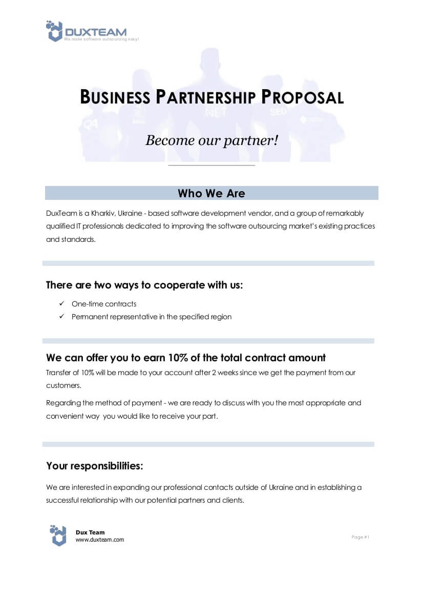 10+ Business Partnership Proposal Examples - Pdf, Word For Business Partnership Proposal Template