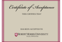 10+ Certificate Of Acceptance Templates | Free Printable for Certificate Of Acceptance Template