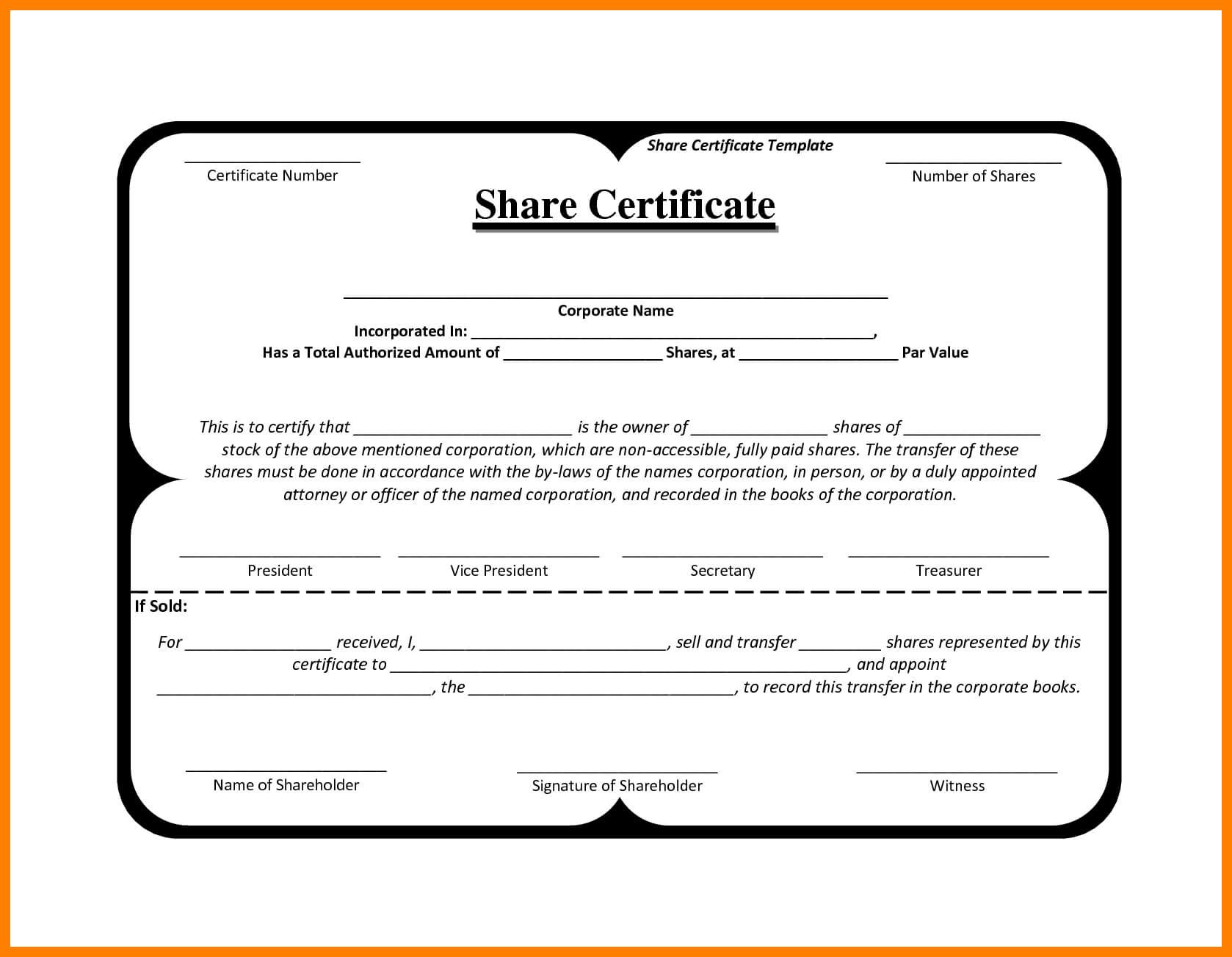 10+ Free Share Certificates Templates | Marlows Jewellers Regarding Blank Share Certificate Template Free