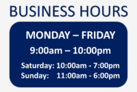 11A Business Hours Sign Template   Wiring Resources intended for Business Hours Template Word