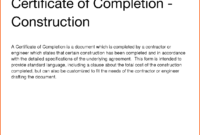 12+ Printable Certificate Of Completion | Survey Template Words with Certificate Of Completion Construction Templates