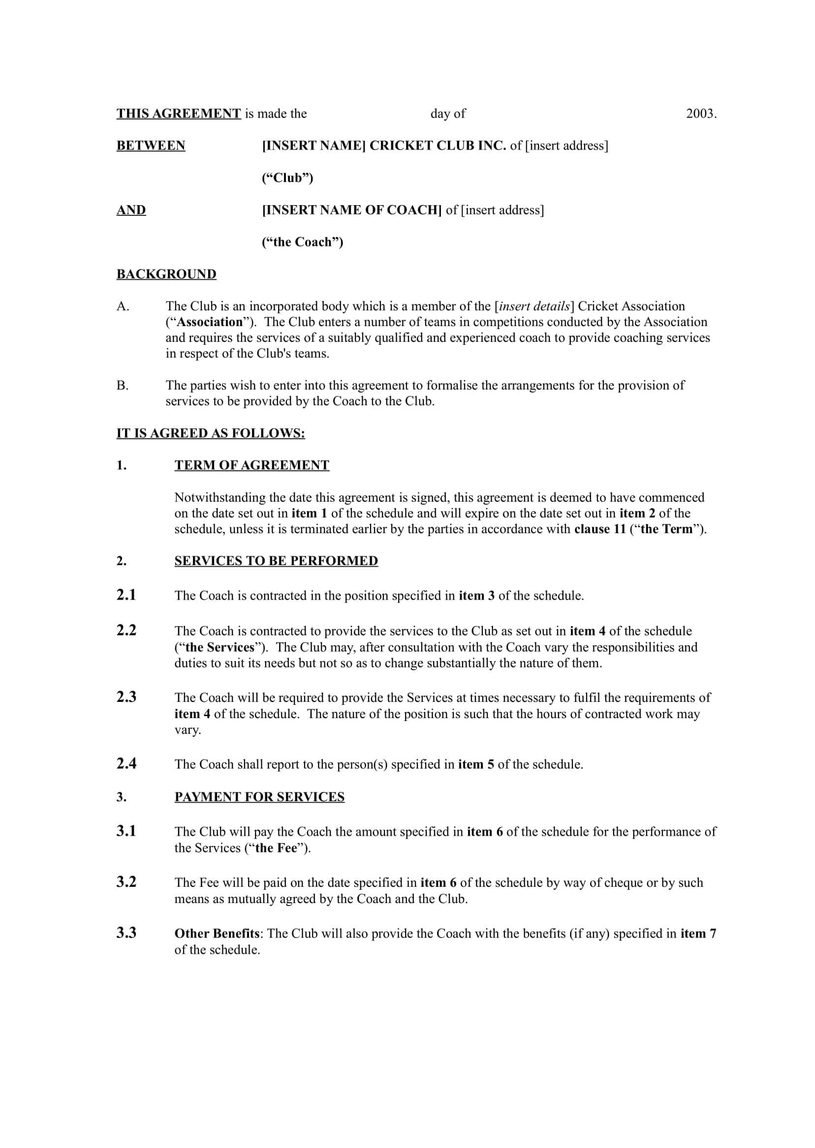 13+ Sports Coach Contract Example Templates - Docs, Word With Business Coaching Contract Template