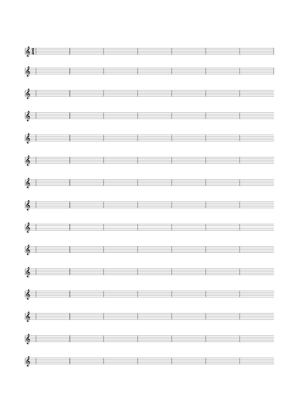 2/4 Time Signature Single Bar Blank Sheet Music | Woo! Jr For Blank Sheet Music Template For Word