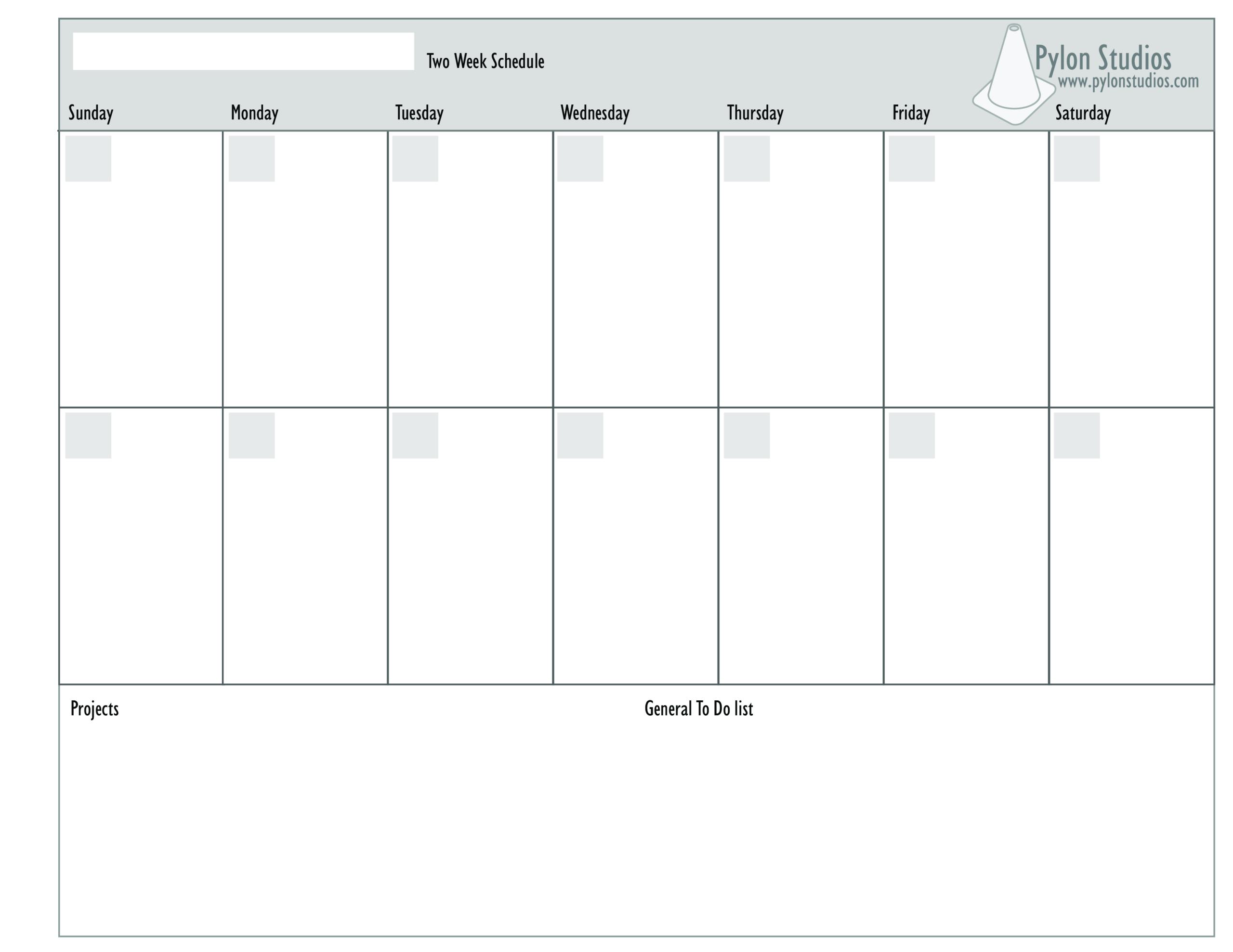 2 Week Calendar | Templates At Allbusinesstemplates Within 2 Week Calendar Template