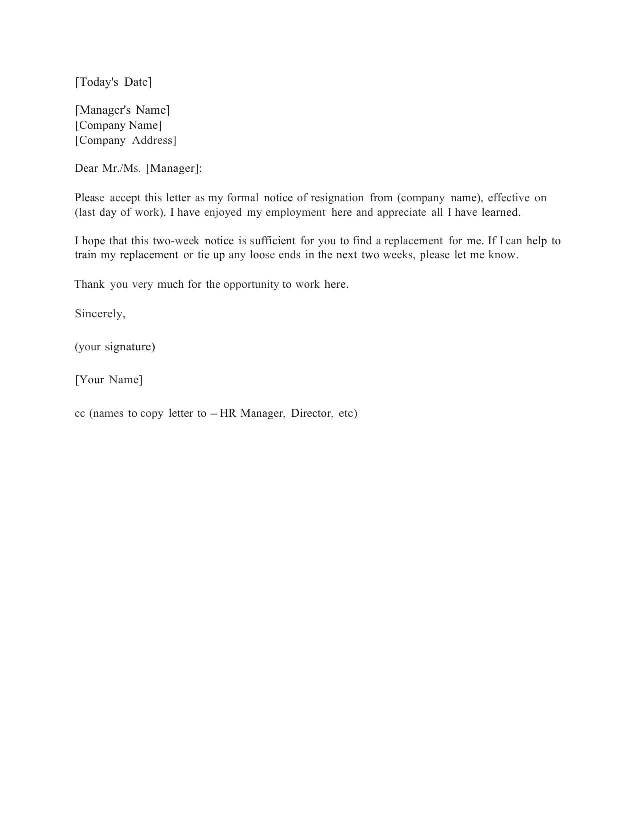 2 Week Notice Letter - Colona.rsd7 Pertaining To 2 Week Notice Letter Template