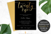 21St Birthday Invitation Instant Download | Modern Black intended for 21St Birthday Invitation Template
