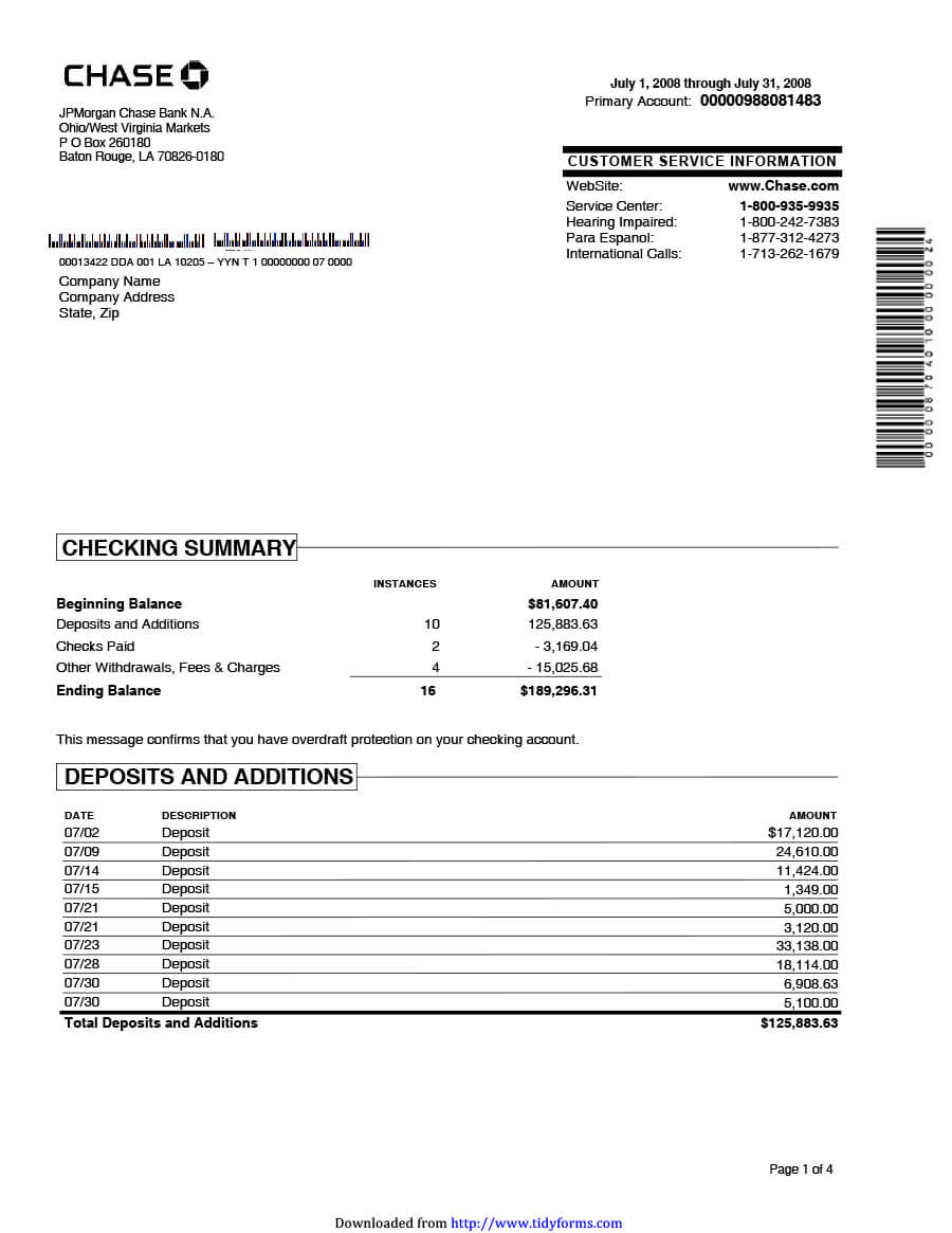 23 Editable Bank Statement Templates [Free] ᐅ Template Lab With Regard To Blank Bank Statement Template Download