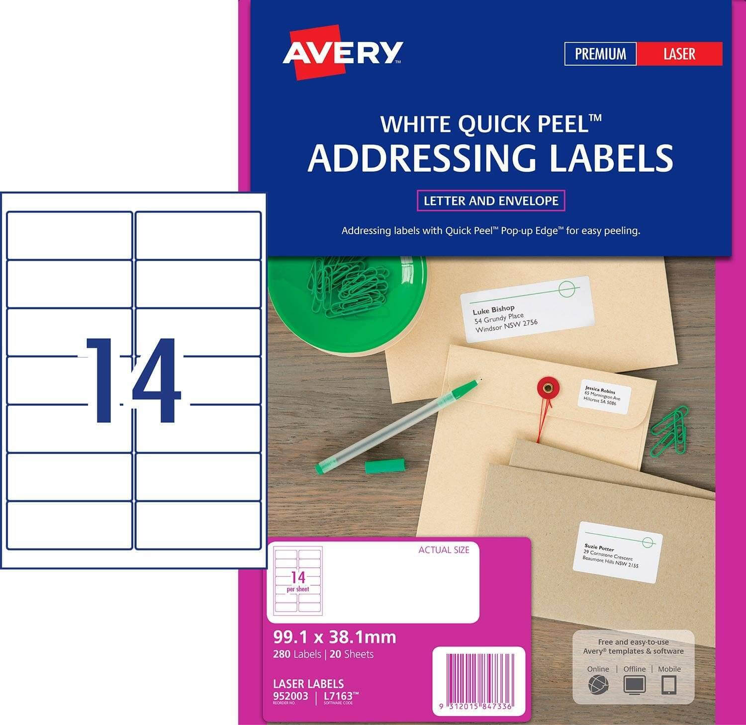 25 Sheets 99.1Mm X 38.1Mm 14 Labels Per Sheet Address Or In 99.1 Mm X 38.1 Mm Label Template