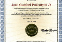 28+ [ Certificate Of Ordination Template ] | Elder with regard to Certificate Of Ordination Template