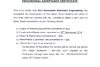 28+ [ Certification Letter Construction ]   Certification with regard to Certificate Of Substantial Completion Template
