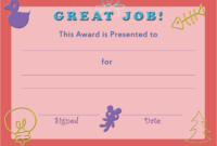 28+ [ Free Printable Certificate Templates For Kids with regard to Certificate Of Achievement Template For Kids