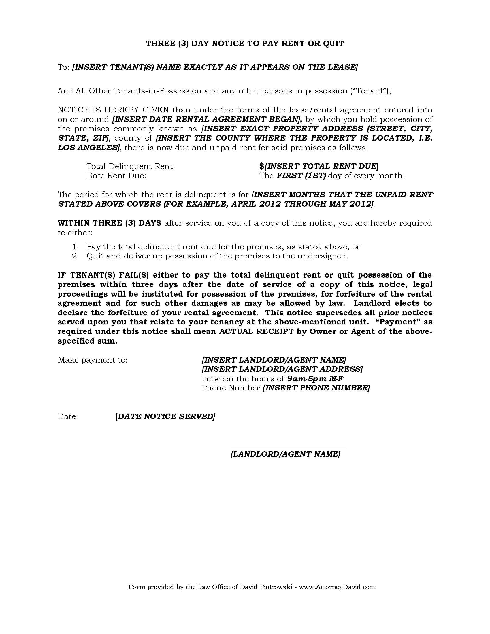 3 Day Eviction Notice For Non Payment Of Rent In California Throughout 3 Day Eviction Notice Template