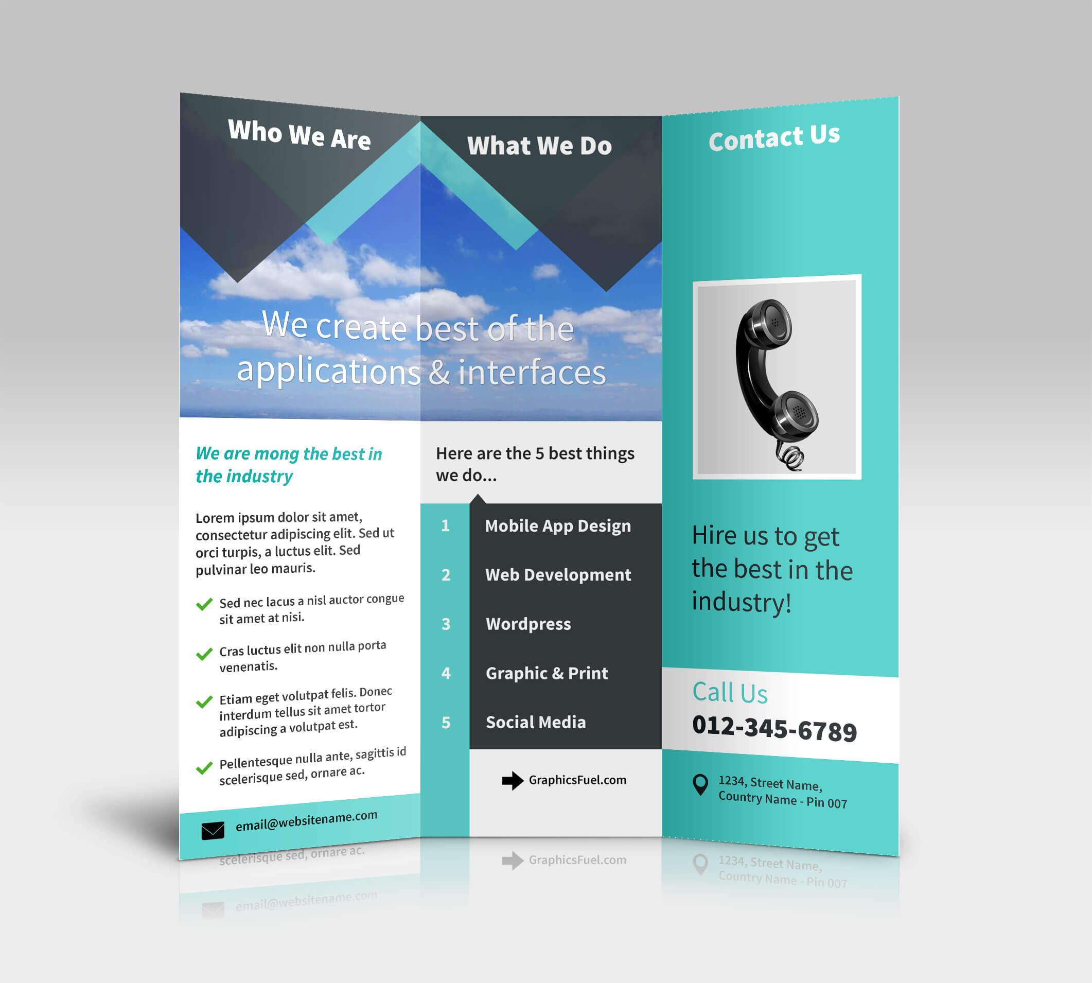 3 Panel Tri Fold Brochure Psd Mockups - Psd Mockups Throughout 3 Fold Brochure Template Psd
