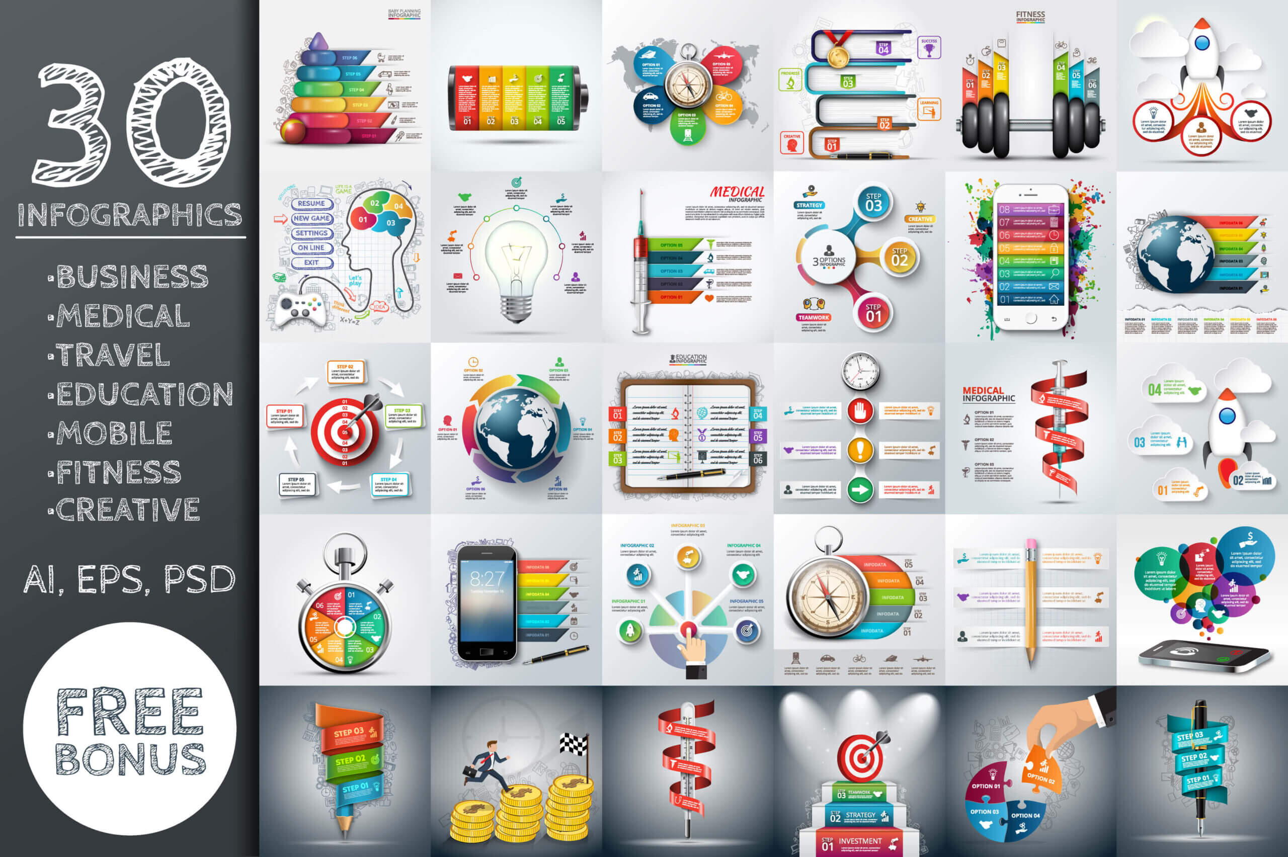 30+ Best Infographic Templates For Illustrator - Top Digital With Adobe Illustrator Infographic Templates
