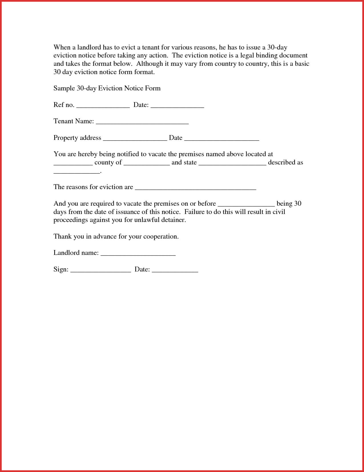 30 Day Eviction Notice Samples 8 Taboos About 8 Day With 30 Day Eviction Notice Template