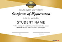 30 Free Certificate Of Appreciation Templates And Letters for Certificate Of Excellence Template Free Download