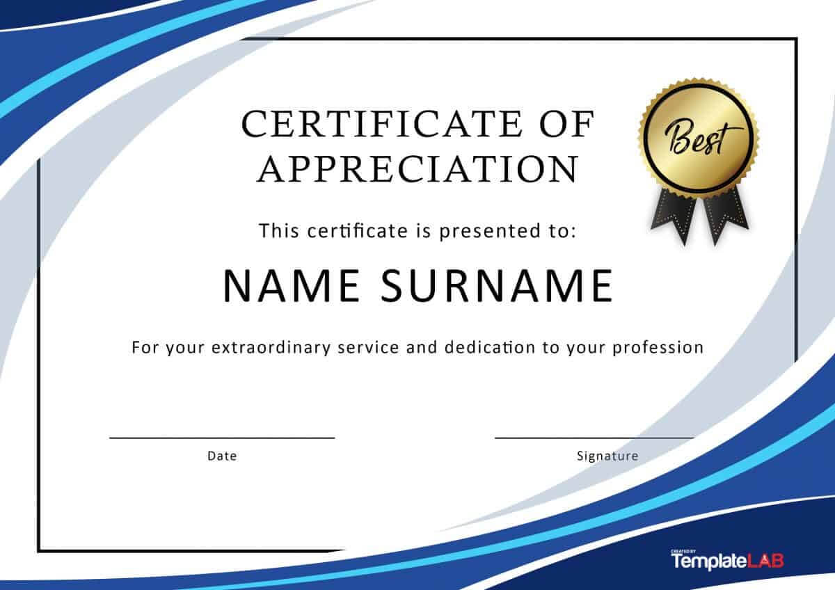 30 Free Certificate Of Appreciation Templates And Letters Intended For Certificate Of Excellence Template Word