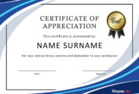 30 Free Certificate Of Appreciation Templates And Letters with Certificate Of Appreciation Template Free Printable